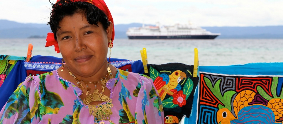 A Kuna native in the San Blas Islands of Panama, where Silver Explorer was docked today.